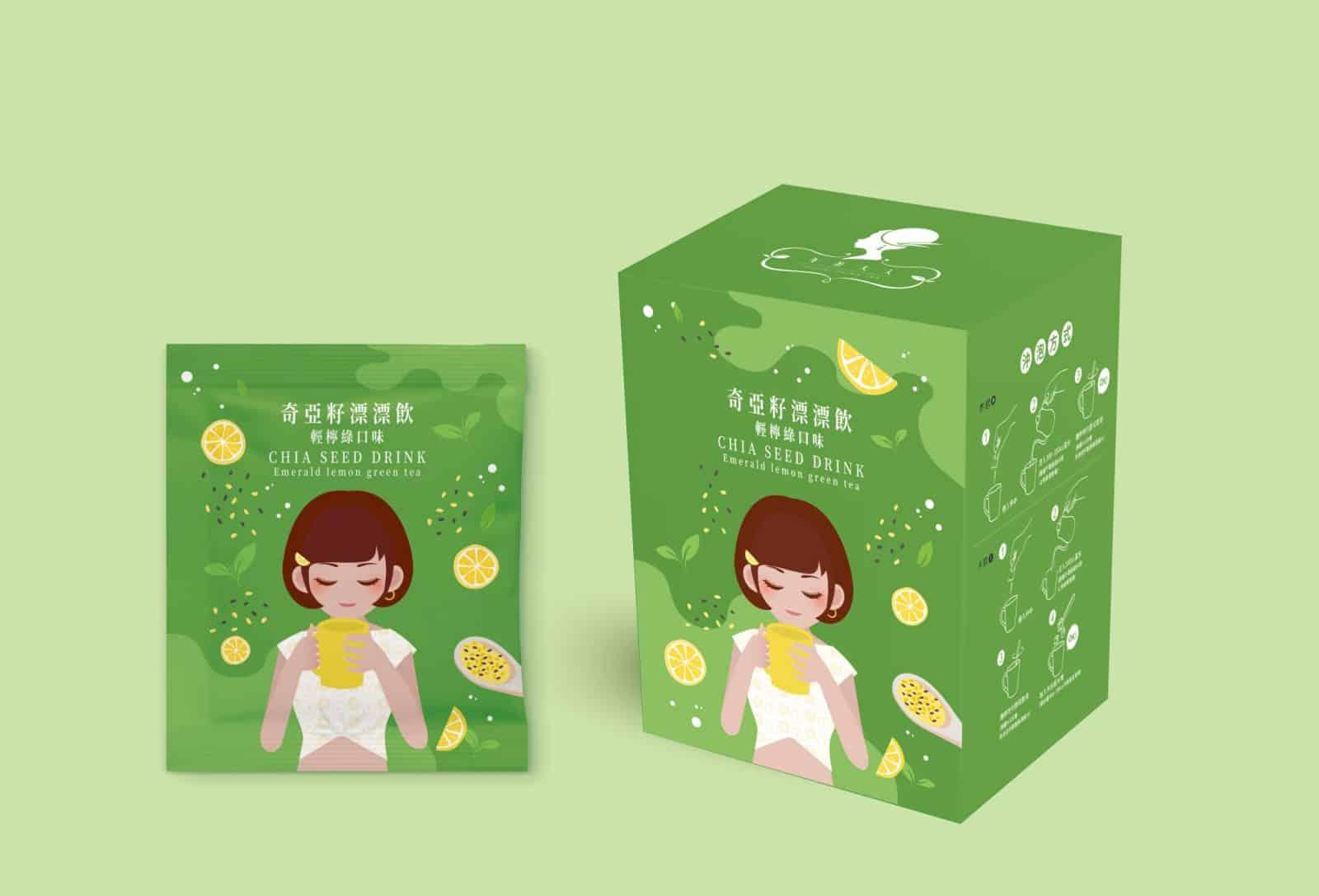 奇亞籽青檸綠 鋁箔袋設計 包裝設計 外盒設計 紙盒設計 包裝盒設計