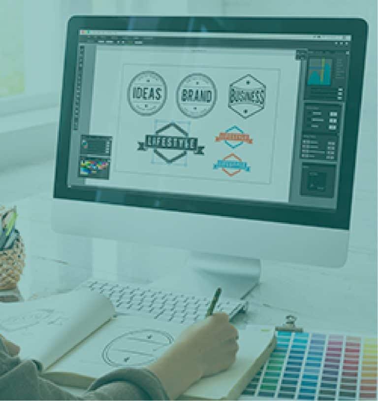 logo設計電腦繪製工作照片