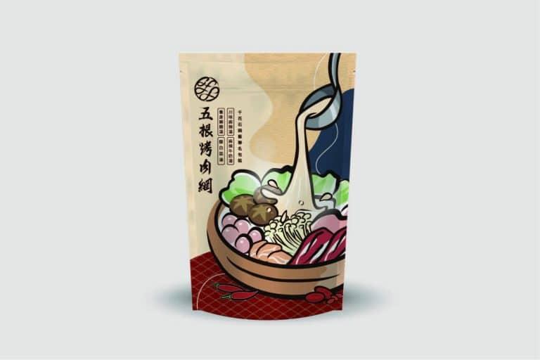五根烤肉網湯底包 包裝設計