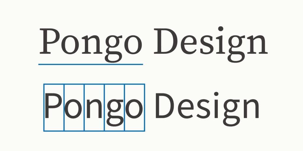 襯線體的龐果設計在閱讀上較為連續,無襯線體的閱讀重點反而較著重在單個字母