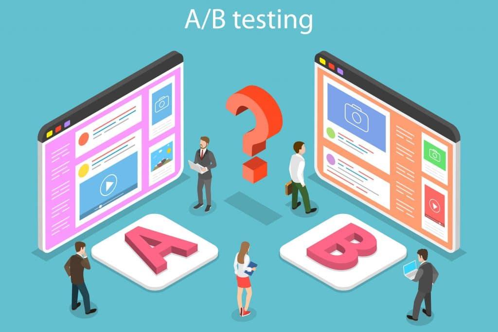 人們在進行著陸頁的A/B 測試,選擇最終要用哪一個著陸頁設計。