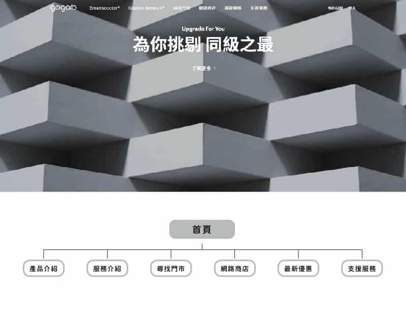 GOGORO的網站結構與其網站UI/UX畫面。