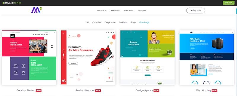 一頁式模板參考網站:Envato market