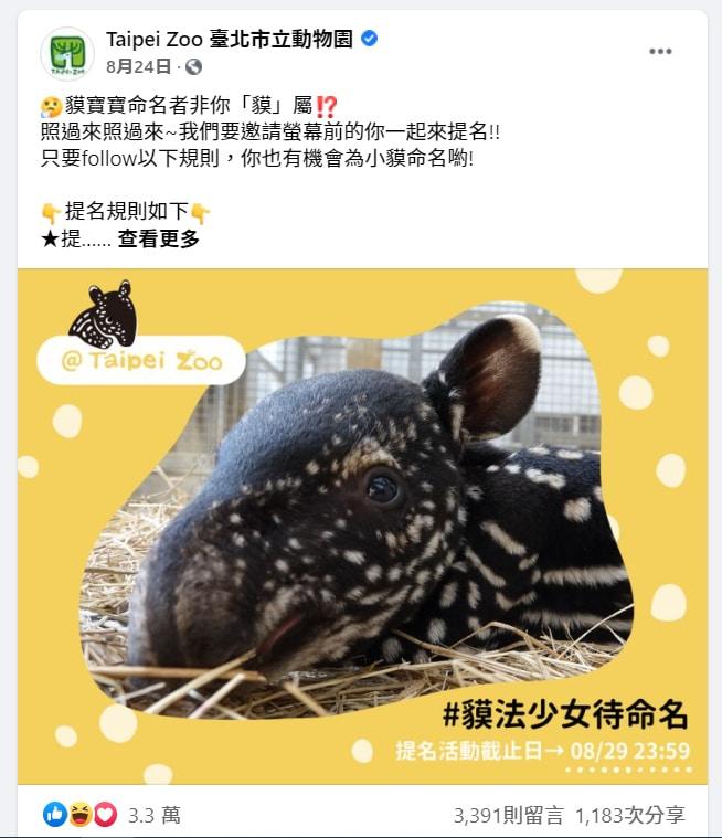 台北市立動物園在facebook粉絲專頁設計的命名活動